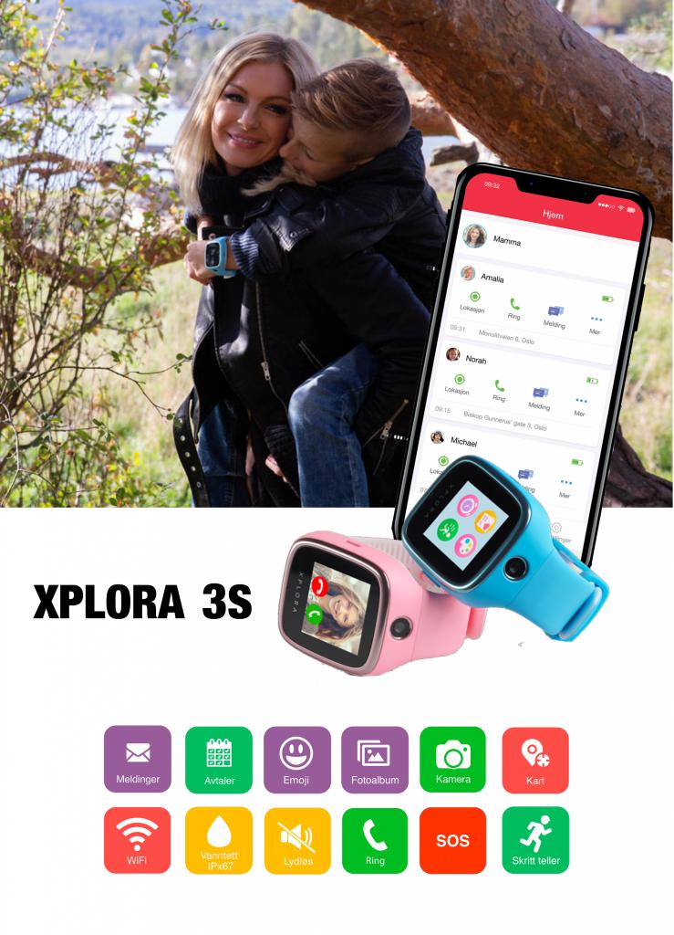XPLORA 3S har mange nyttige funksjoner og kommer i tillegg med en foreldre app.
