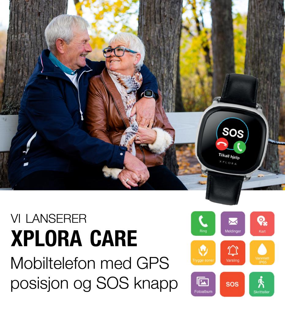 Vi lanserer XPLORA Care. Mobiltelefon med GPS og SOS knapp for enkel og trygg kommunikasjon.